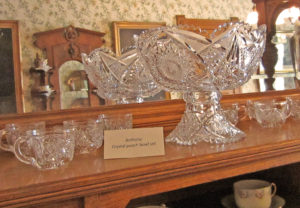 Punchbowl that belonged to the Anthony family, displayed at the Leavenworth County Historical Society. Photo by Jeanne Gehret